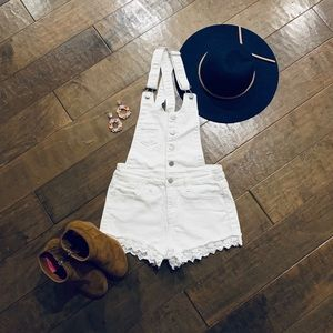 Forever 21 White Denim Overalls with Lace